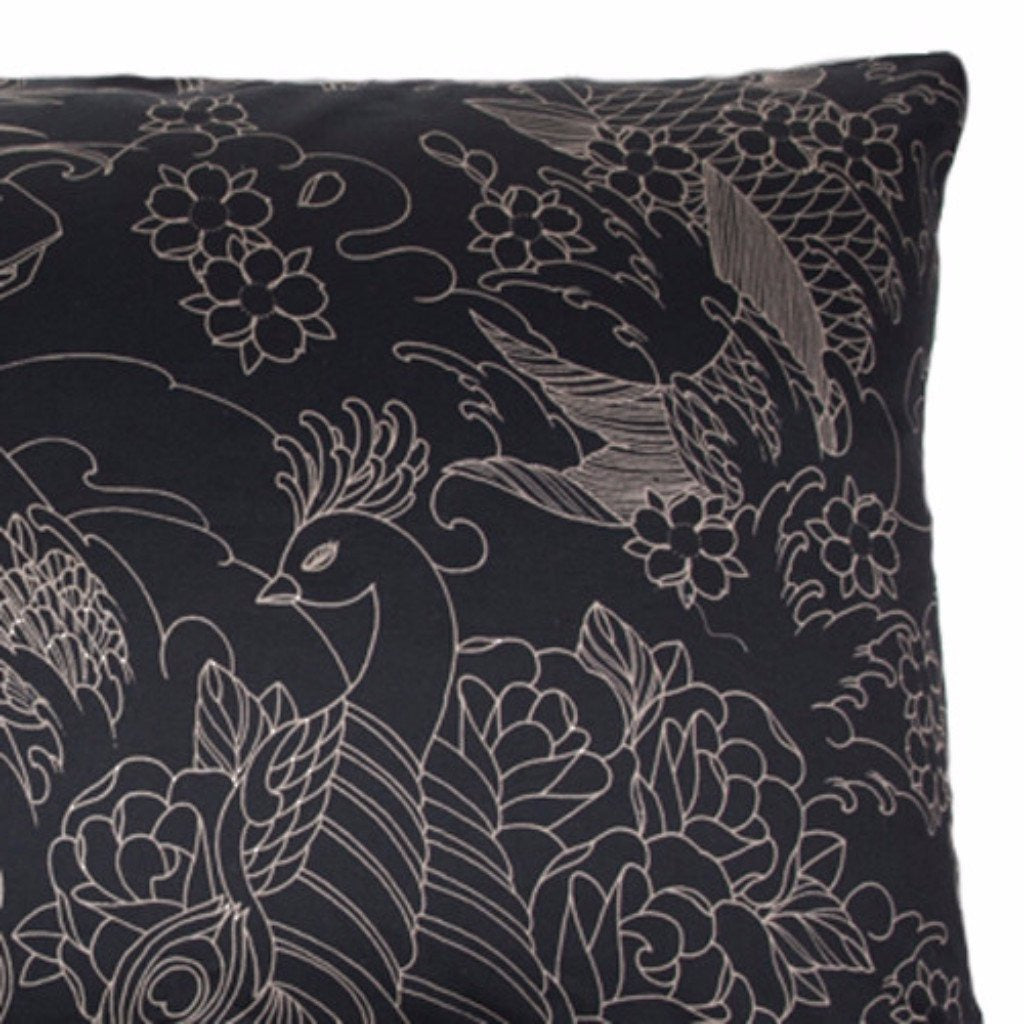 Moon Tattoo Pillow Cases | Black Bedding by Sin in Linen