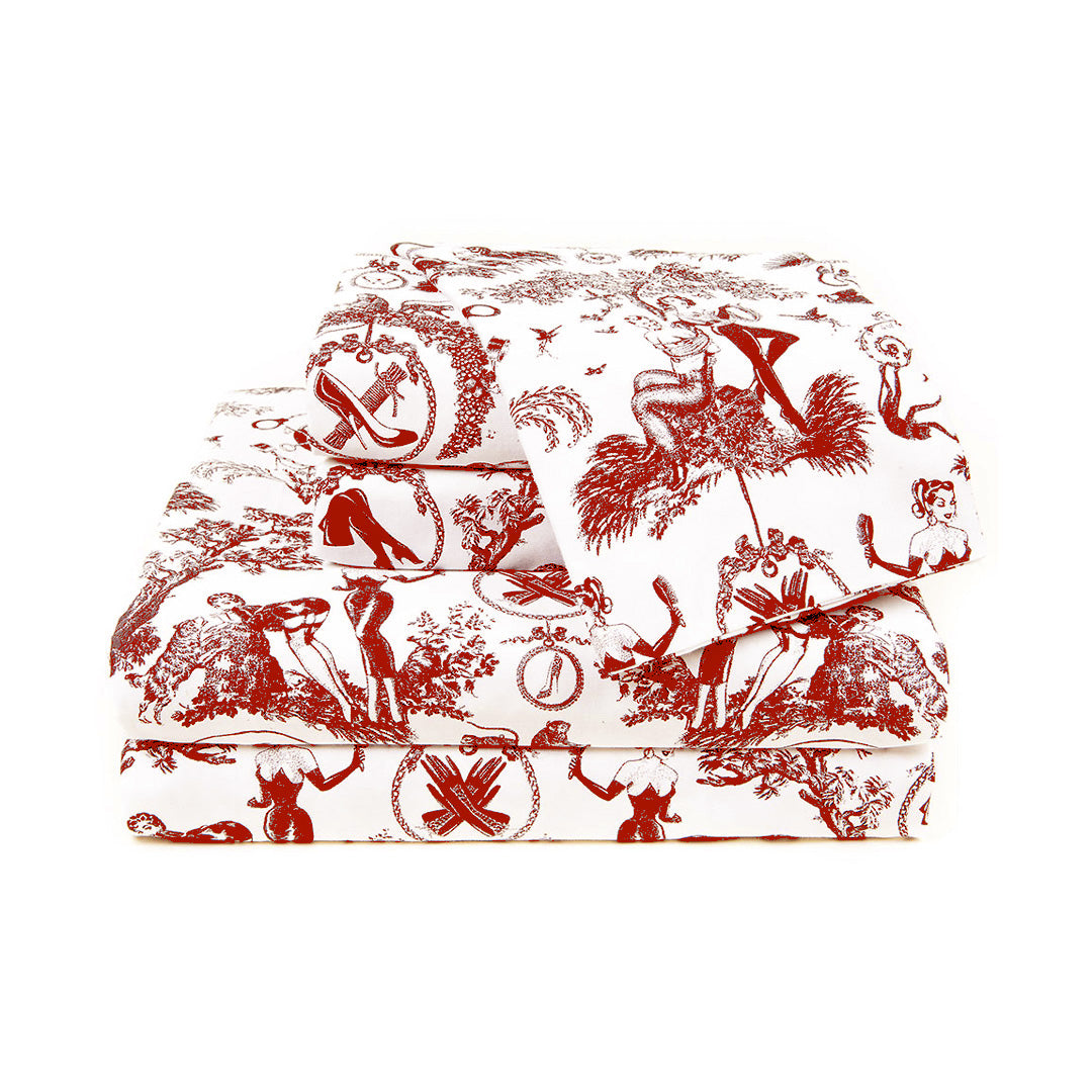 Naughty Toile Scarlet Sheets