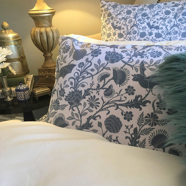Elysian Fields Duvet Cover - Blue Smoke by Sin in Linen
