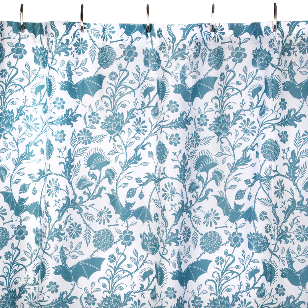 Elysian Fields Shower Curtain - Blue - by Sin in Linen