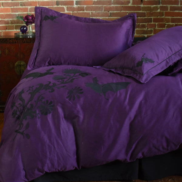 Night Flight Embroidered Pillow Shams