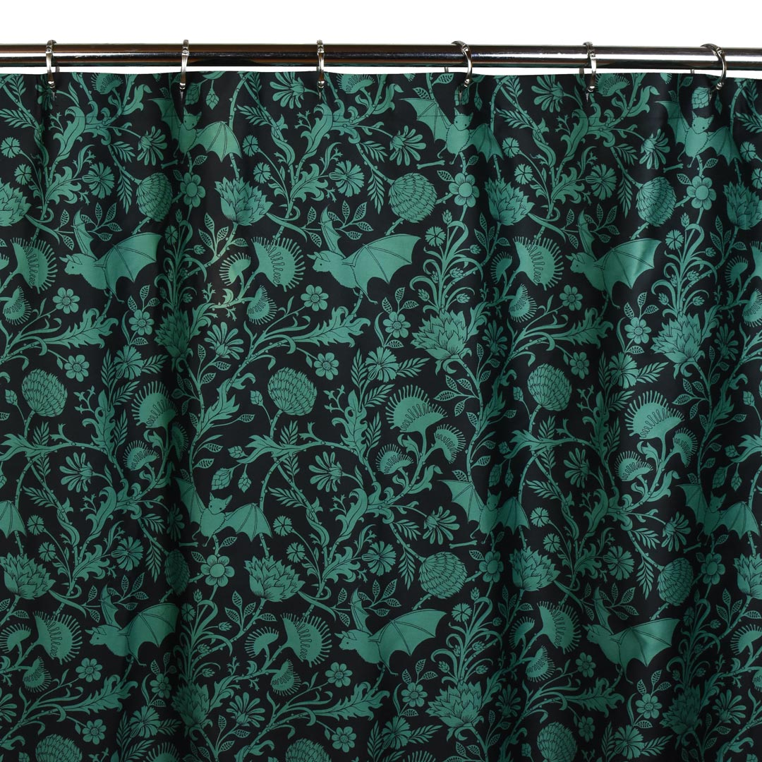 Green Bats Shower Curtain