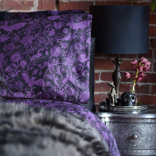 Purple bed sheets with bat print, gothic bedding by Sin in Linen. Elysian Fields.