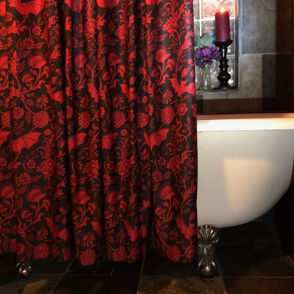 Scarlet Bat Shower Curtain