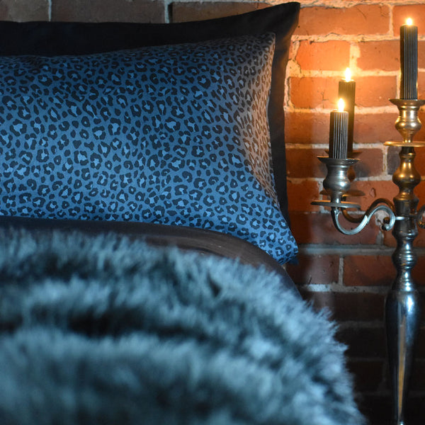 Wild Side Leopard Duvet Cover - Navy
