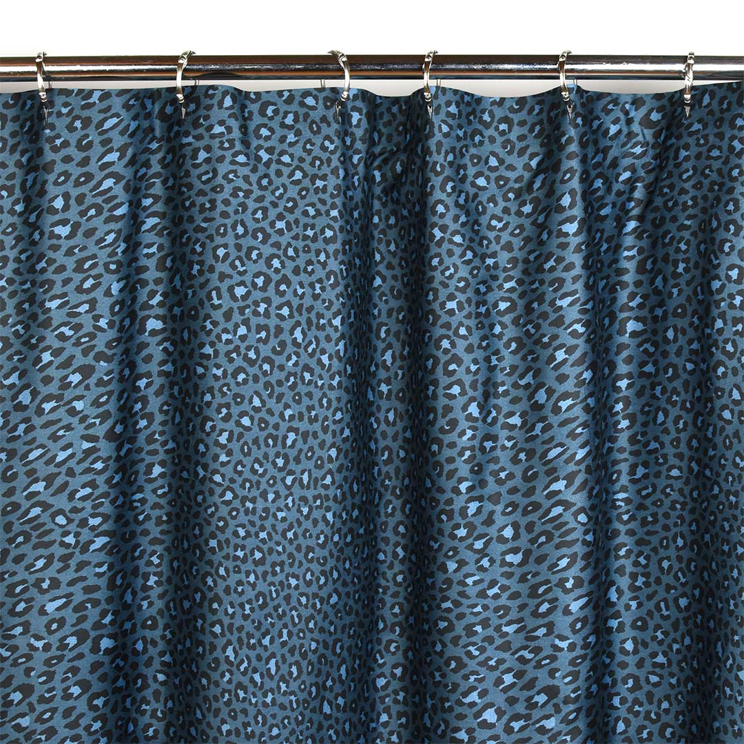 Wild Side Leopard Shower Curtain - Navy