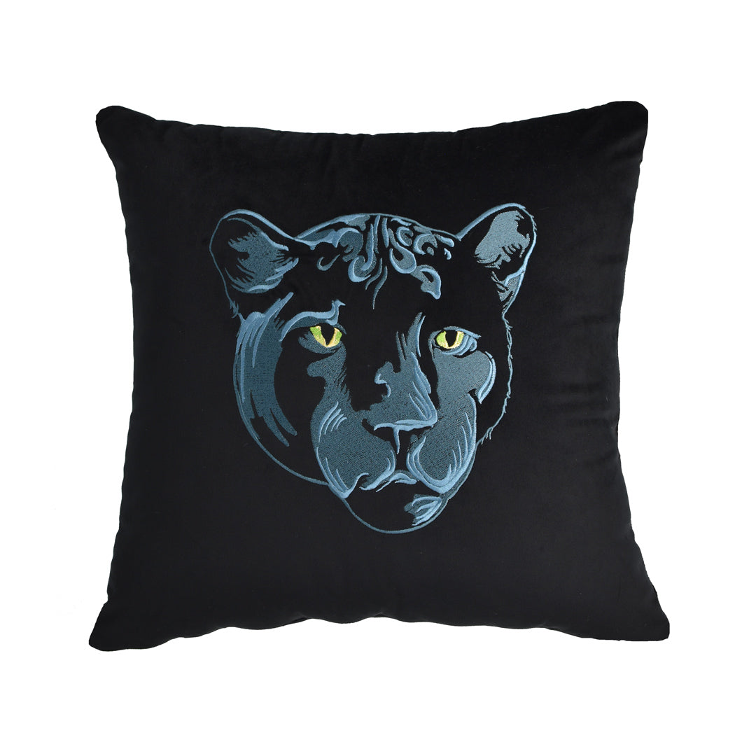 Velvet Panther Throw Pillow - Navy
