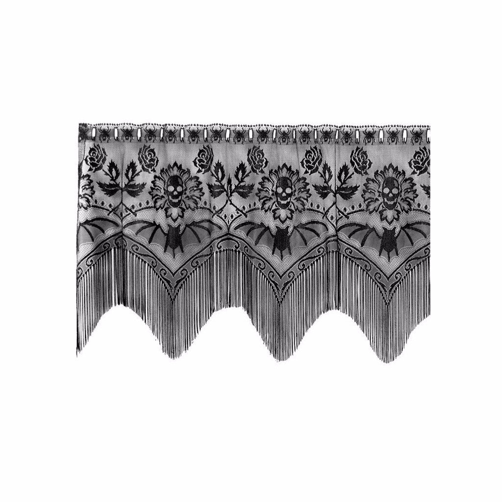 ls skulls bats and halloween products way linen valance gala lace sin in