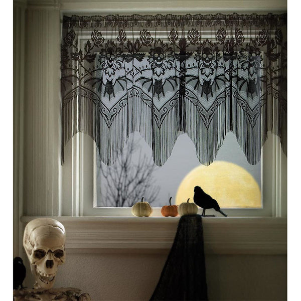 Lace Curtains And How To Clean Them Properly Skulls and Bats Lace Valance - Sin in Linen