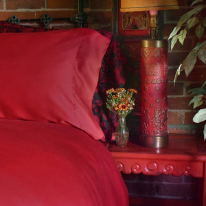 Scarlet Red Bamboo Sheets