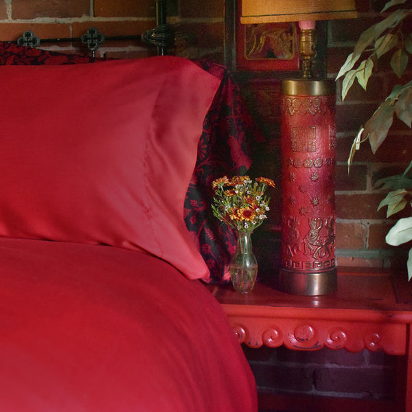 Red Bamboo Pillow Cases & Shams
