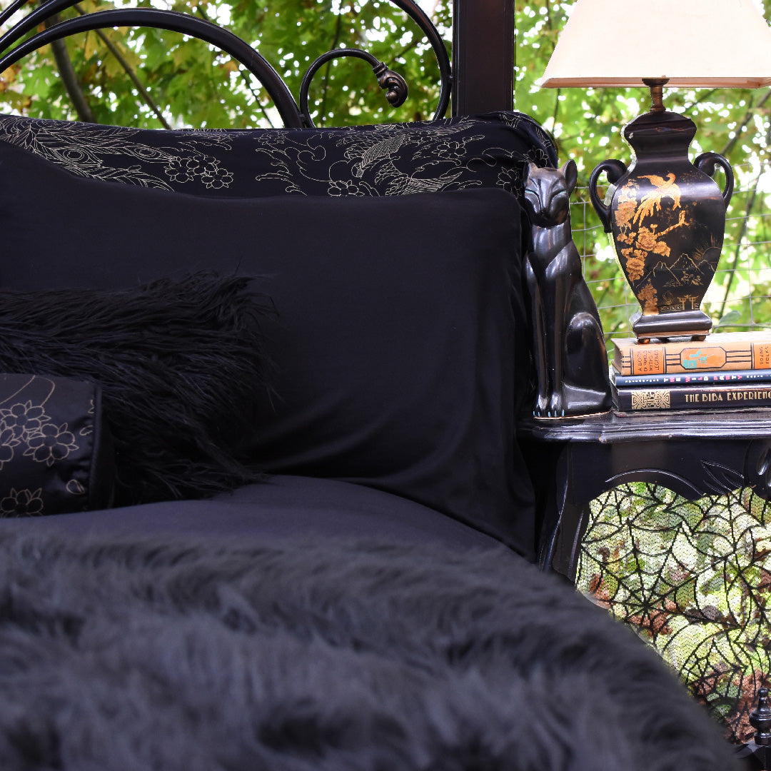 Solid Black Pillow Cases Shams Gothic Bedding By Sin In Linen