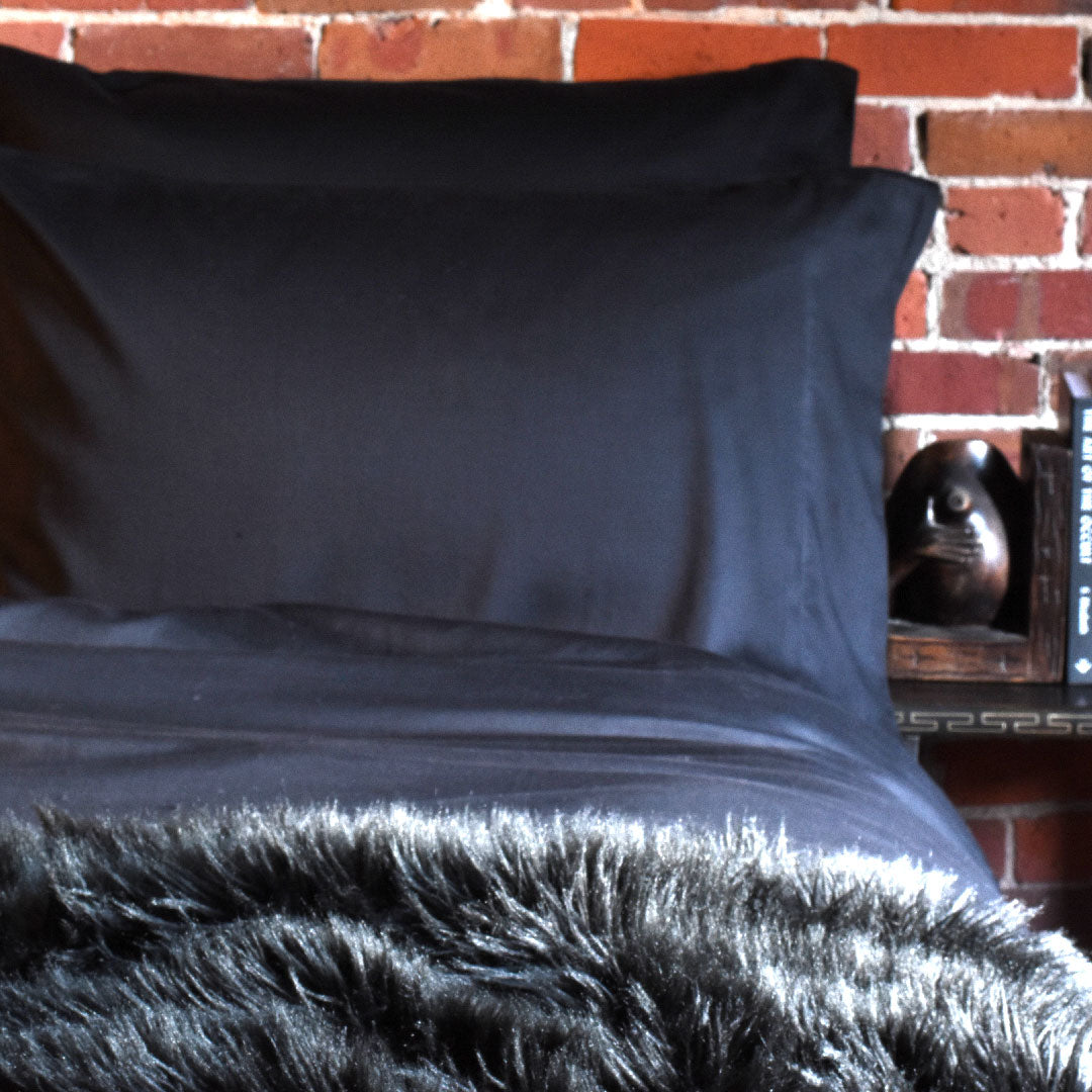 Solid Black Pillow Cases & Shams