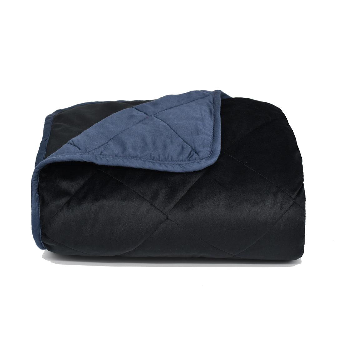 Velvet Blanket - Black with Navy Bamboo