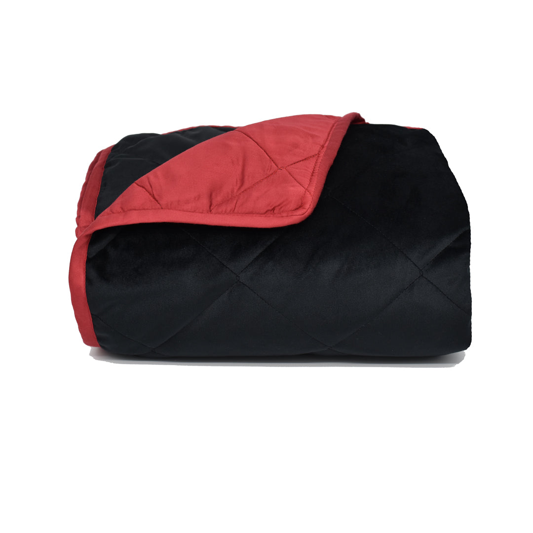 Velvet Blanket - Black with Red Bamboo