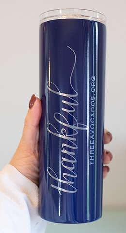 """Thankful"" Tumbler - Navy"