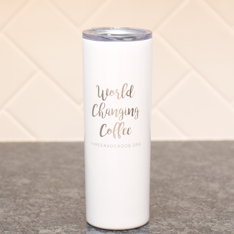 """World Changing Coffee"" Tumbler - White"