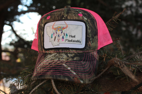 Pink and Camo Hunt Montanably Hat with Feather Skull