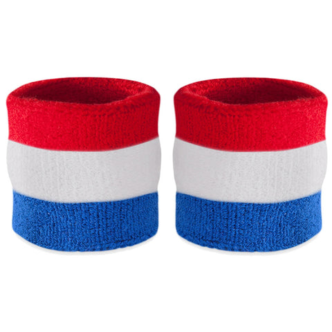 Red White & Blue Sweatband Wristband Pair