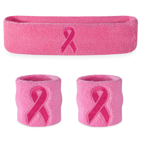 Pink Ribbon Sweatband Set