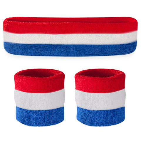 Kids Red White & Blue Sweatband Sets