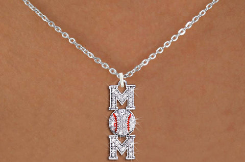 "BASEBALL NECKLACE ""MOM"" AUSTRIAN CRYSTALS ON CHAIN"