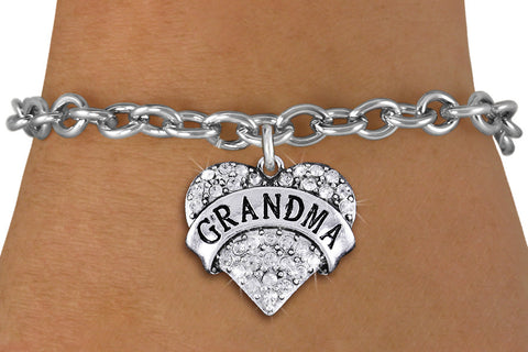 "BRACELET ""GRANDMA"" IN CLEAR CRYSTAL HEART"