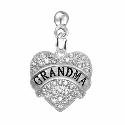 "EARRINGS ""GRANDMA"" IN CLEAR CRYSTAL HEART ON POST STYLE"