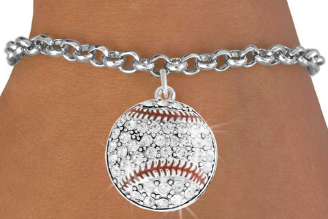 BASEBALL BRACELET WITH CRYSTAL BASEBALL