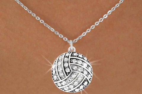 VOLLEYBALL NECKLACE WITH CLEAR AUSTRIAN CRYSTAL CHARM