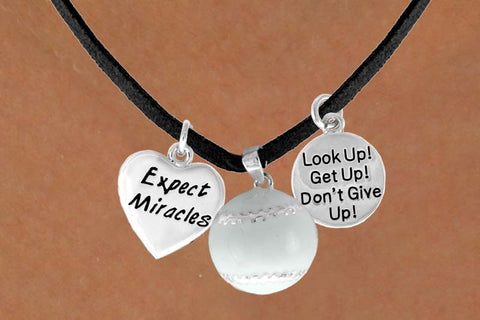 "BASEBALL NECKLACE WITH BASEBALL AND ""EXPECT MIRACLES"" AND ""LOOK UP GET UP NEVER GIVE UP"" CHARMS"