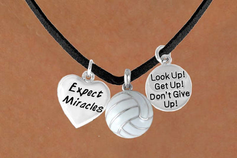 "VOLLEYBALL NECKLACE WITH A VOLLEYBALL NEXT TO ""EXPECT MIRACLES"" & ""LOOK UP, GET UP, DON'T GIVE UP"""