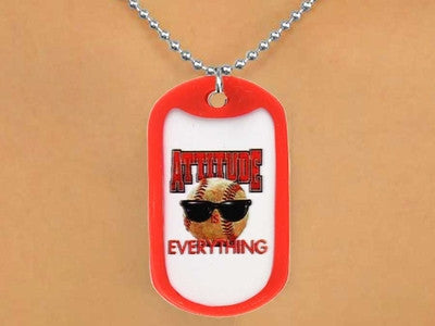 "BASEBALL ""ATTITUDE IS EVERYTHING"" DOG TAGS"