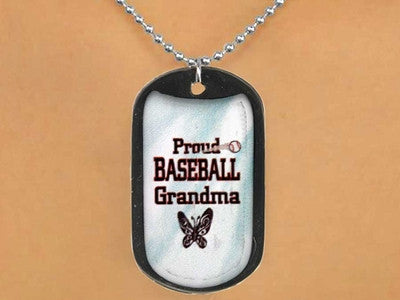 "BASEBALL ""PROUD BASEBALL GRANDMA"" DOG TAGS"
