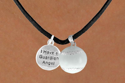"BASEBALL NECKLACE WITH BASEBALL AND ""I HAVE A GUARDIAN ANGEL"" CHARM ON BLACK LEATHERETTE"