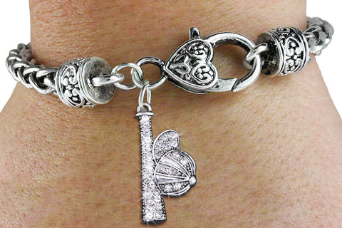 BASEBALL BRACELET WITH AUSTRIAN CLEAR CRYSTAL BAT AND CAP