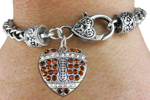 FOOTBALL BRACELET ON ANTIQUED SILVER TONE WITH TOPEZ TONED AUSTRIAN CRYSTAL COVERED HEART