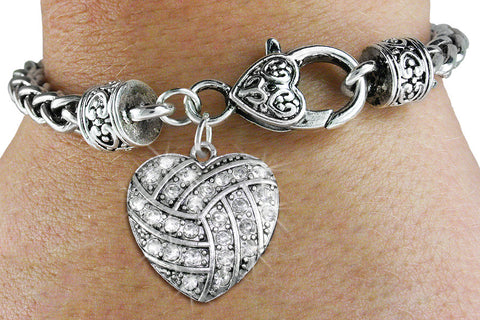 VOLLEYBALL BRACELET AUSTRIAN CLEAR CRYSTAL HEART ON ANTIQUED BRACELET