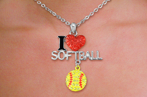 "SOFTBALL NECKLACE ""I LOVE SOFTBALL"" PENDANT"