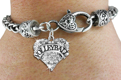 VOLLEYBALL BRACELET ON ANTIQUED SILVER TONE WITH AUSTRIAN CLEAR CRYSTAL HEART
