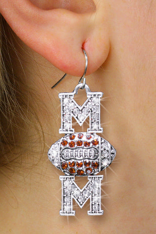 "FOOTBALL EARRINGS ""MOM"" IN TOPAZ TONED CRYSTALS"