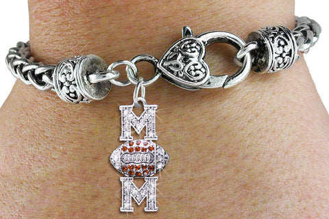 "FOOTBALL BRACELET ""MOM"" CHARM ON ANTIQUED SILVER TONE"