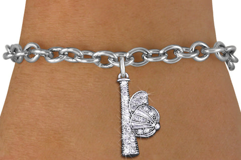 BASEBALL/SOFTBALL BRACELET WITH CRYSTAL COVERED BAT AND CAP