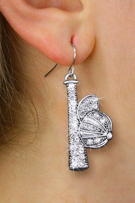 BASEBALL/SOFTBALL EARRINGS SILVER TONE AND CLEAR CRYSTAL BAT AND CAP