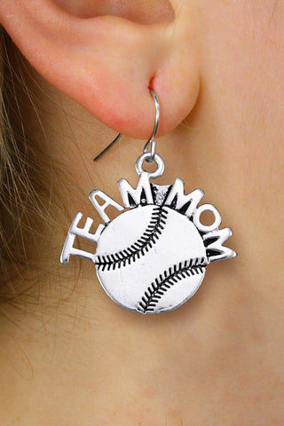 "BASEBALL/SOFTBALL EARRINGS ""TEAM MOM"""