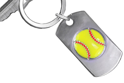 "SOFTBALL KEYCHAIN WITH A RAISED SOFTBALL ON THE FRONT AND""NEVER GIVE UP, NEVER STOP TRYING, NEVER QUIT"" ON THE BACK"