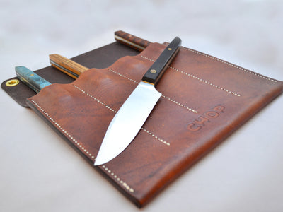 Leather steak knife holder