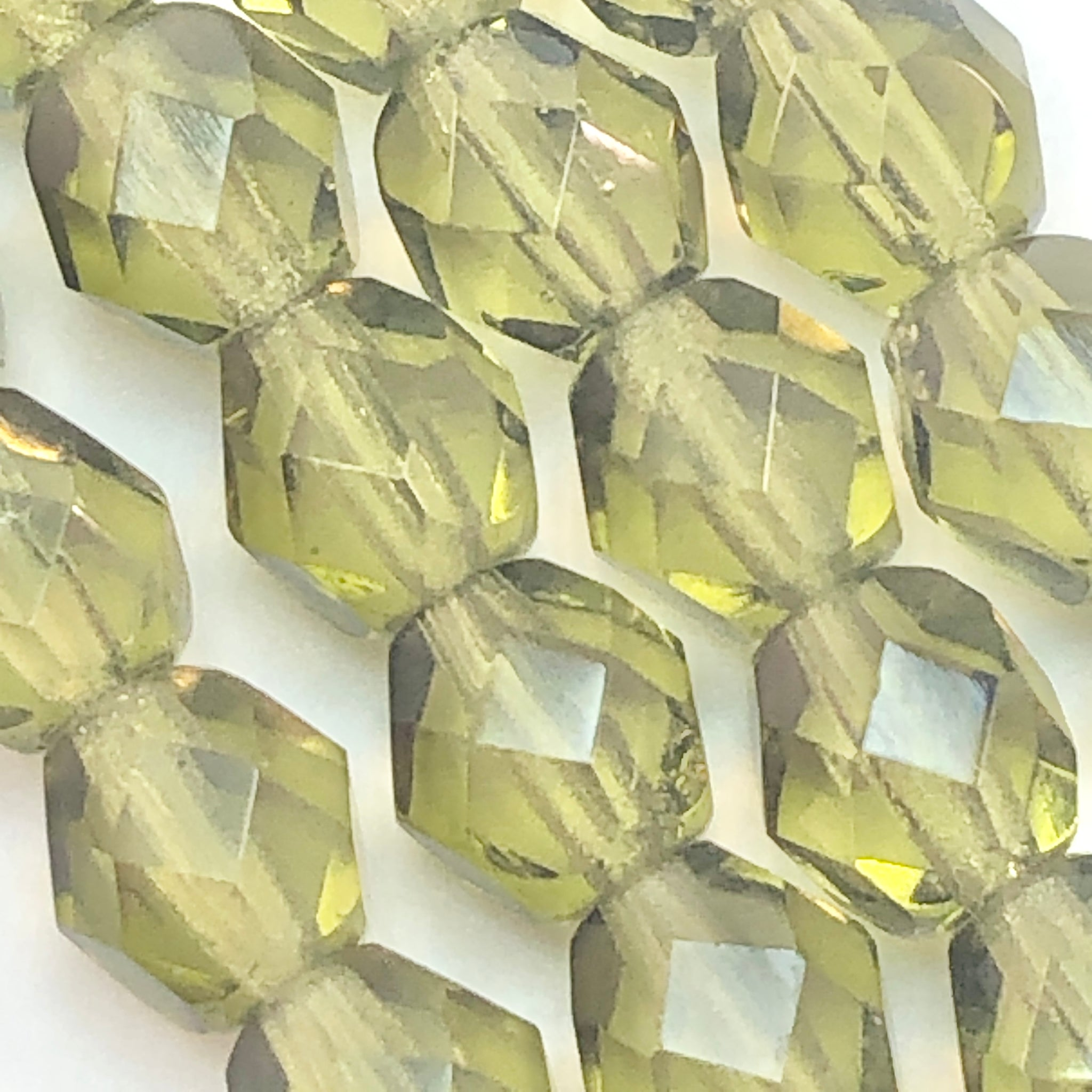 Dark Olive - 6mm faceted Czech