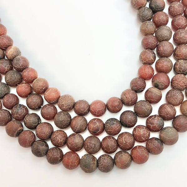 Carnelian Etched Matte  10mm Round Beads