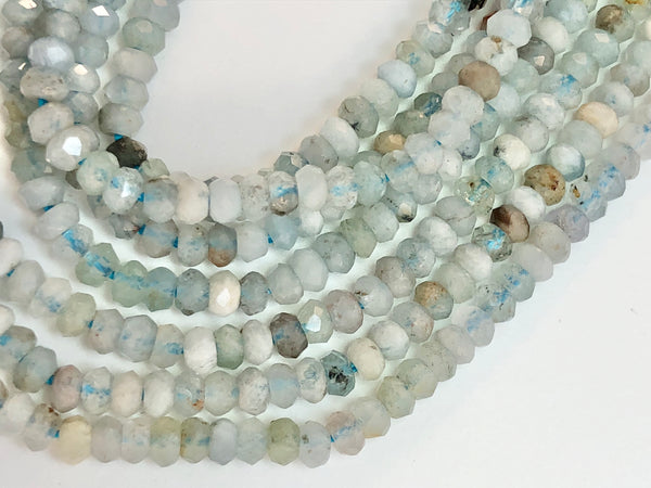 Aquamarine AAA - Rondell Faceted 3mm Beads